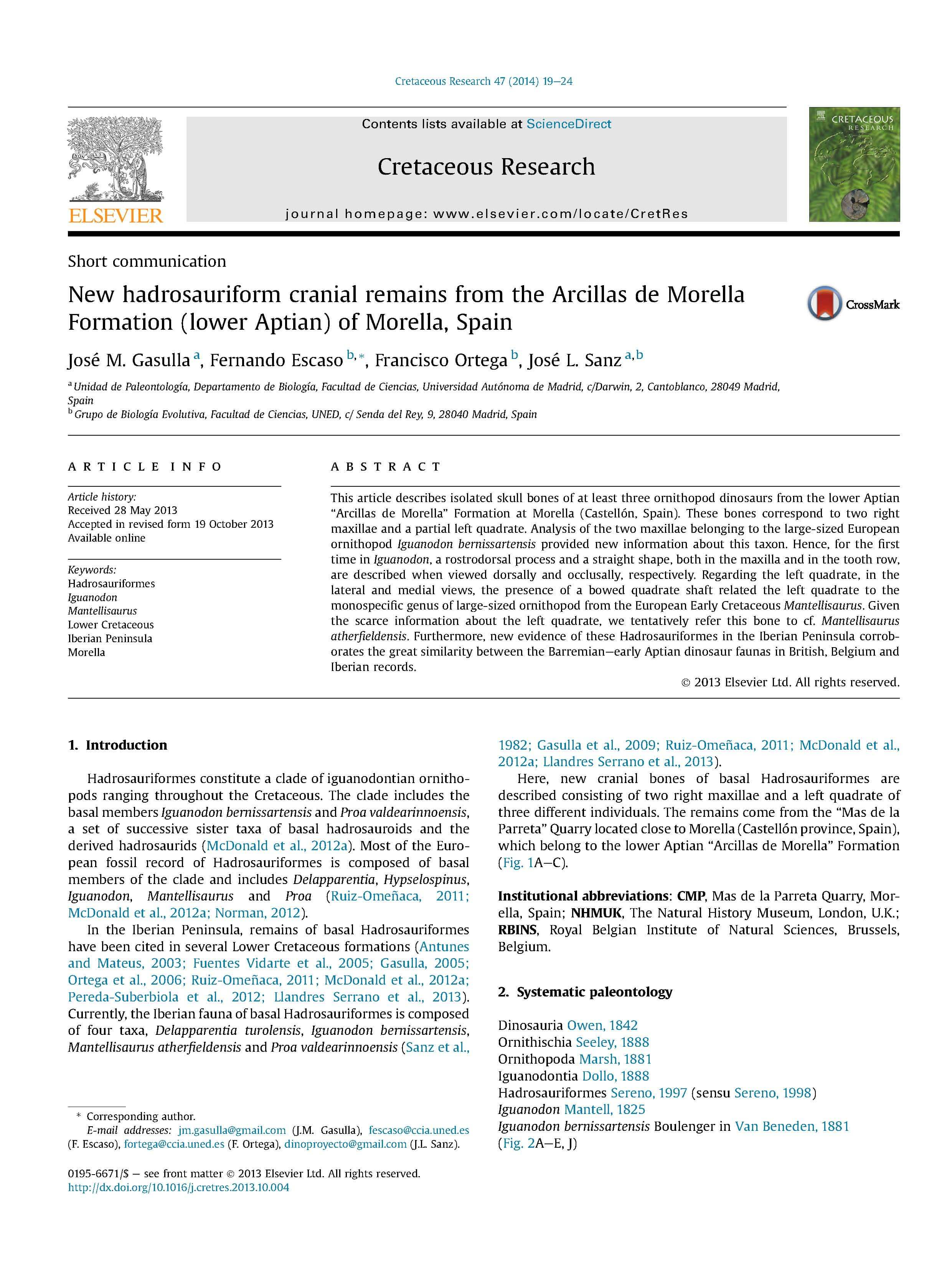 Gasulla et al 2014 Cretaceus Research